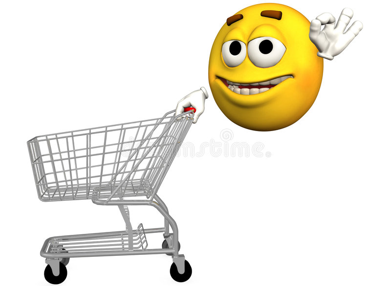 Smiley Emoticon Shopping Cart royalty free illustration