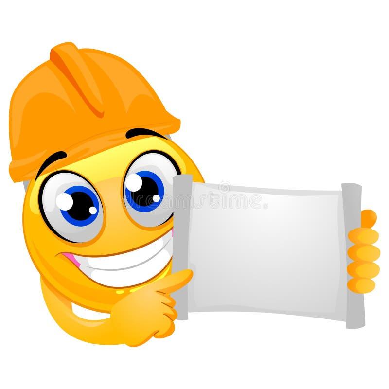 Smiley Emoticon som bär en hjälmtekniker, medan rymma ett tomt öppet pappers- bräde stock illustrationer