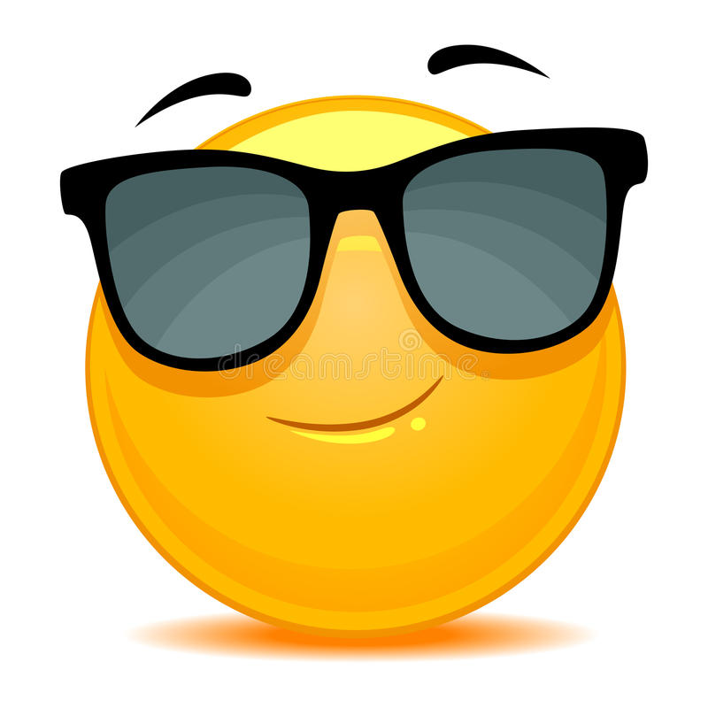 Smiley Emoticon wearing sunglasses stock illustration