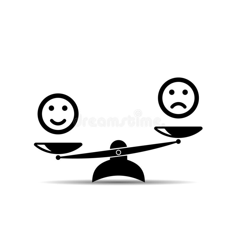 Smiley emoticons different mood on scales, vector icon. Positive attitude as advantage. Happiness versus sadness. Vector royalty free illustration