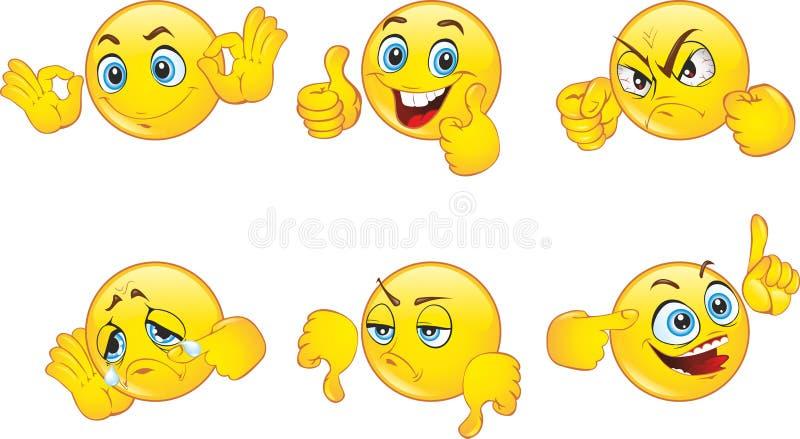 Smiley Emoticons eingestellt lizenzfreie abbildung