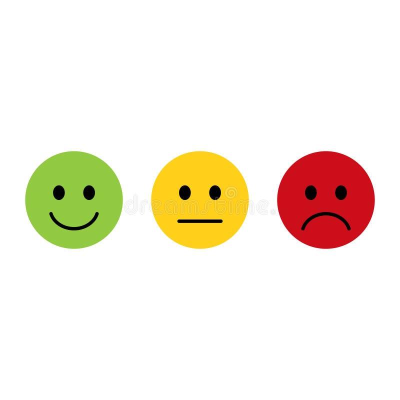 Smiley Emoticons Icon Positive Neutral Negative Flat Design Emoticon Faces Happy Sad Stock