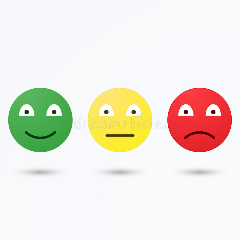 Smiley emoticons icon positive, neutral and negative, isolated mood. Smiley emoticons icon positive, neutral and negative, isolated evaluation illustration of vector illustration