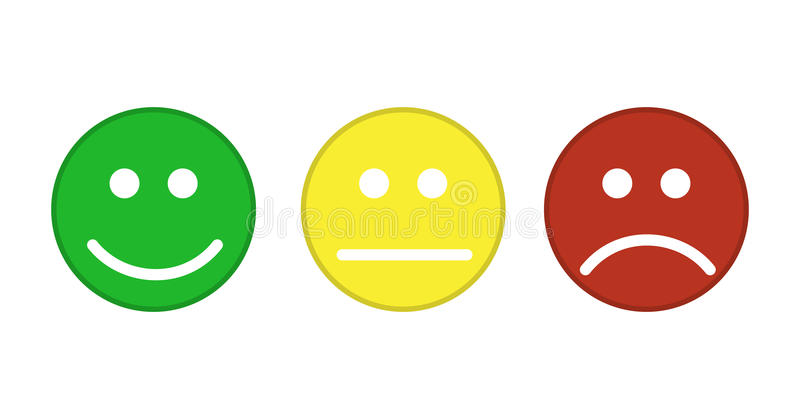 Smiley emoticons icon. Positive, neutral and negative. Vector illustration in flat style vector illustration