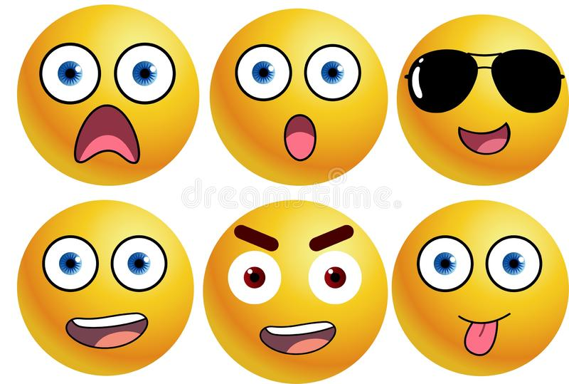 Smiley emoticons set . Yellow face with emotional . Funny cartoon character . Mood, web, flat, element, object, chat, message, new, cute, hsppy, dcary, angry stock illustration