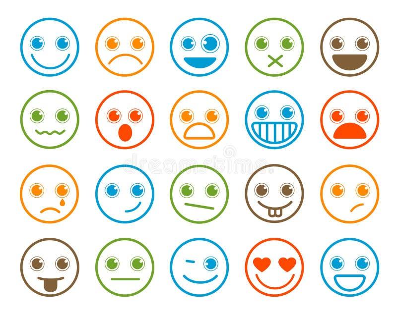 Smiley Emoticons-Vektorikone stellte in flache Linie Kreisknopf ein vektor abbildung