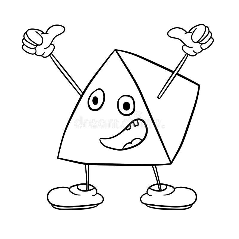 Smiley engraçado do triângulo com os pés e os olhos que acenam seus braços e que gritam felizmente Livro para colorir para crian? ilustração do vetor