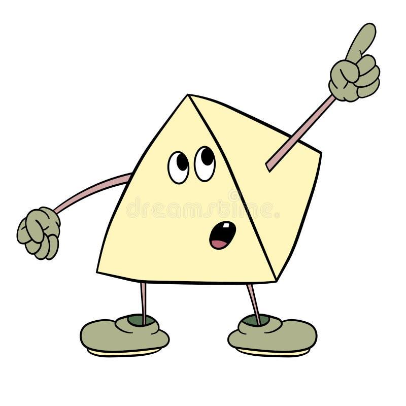 Smiley engraçado do triângulo com os pés e os olhos que mostram um dedo acima Esboço da cor da caricatura ilustração stock