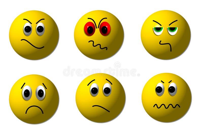 Smiley enojados 3D stock de ilustración