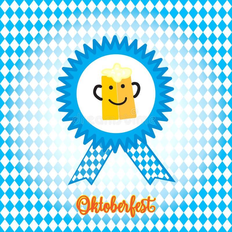 Smiley för Oktoberfest ölmag royaltyfri illustrationer