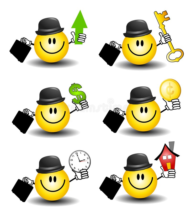 Smiley Face Businessmen 2. An illustration featuring your choice of 6 cartoon smiley businessman characters holding various items and wearing a bowler hat stock illustration