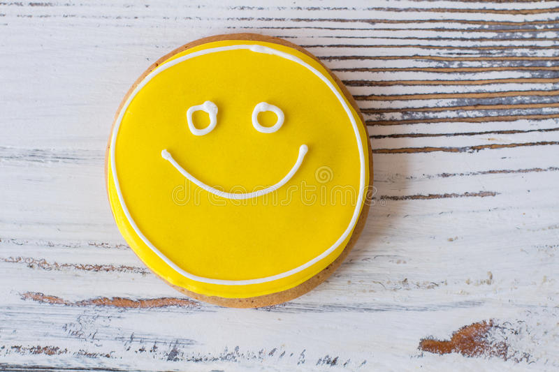 Smiley face cookie. stock image