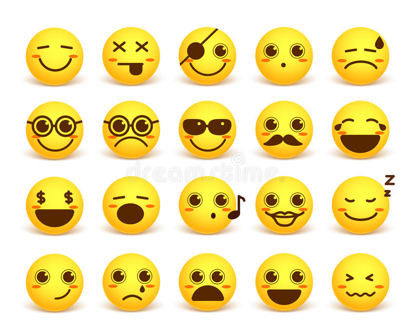 Smiley face cute vector emoticon set with happy facial expressions. In yellow button circle isolated in white background. Vector illustration vector illustration