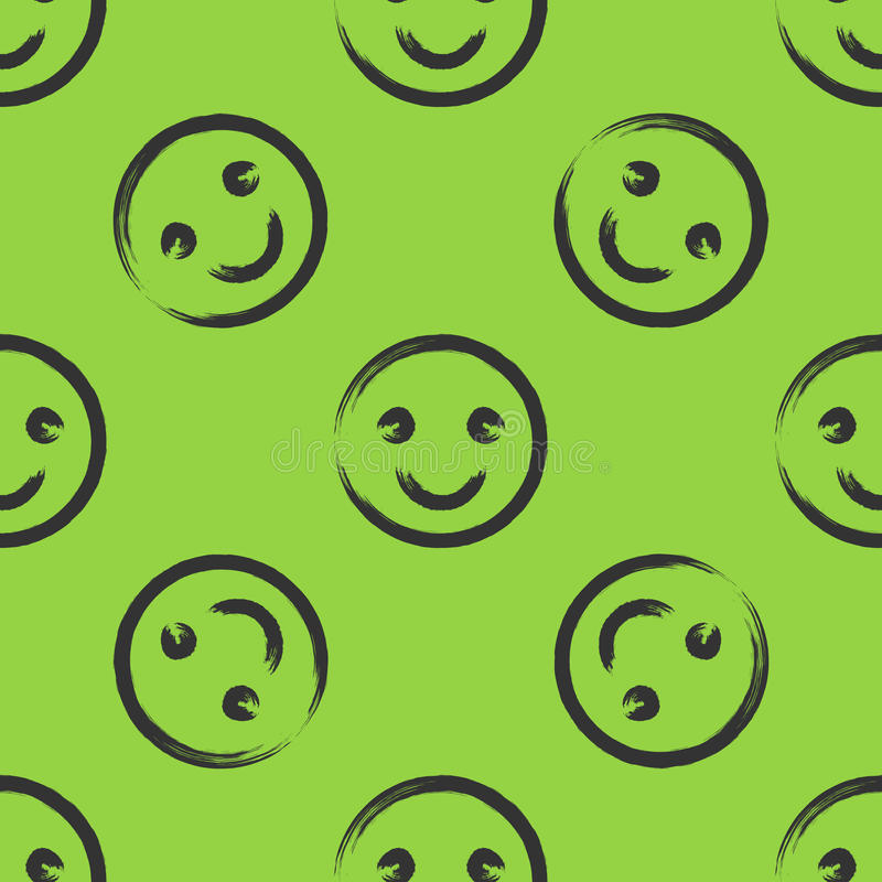 Smiley face drawn with a brush. Seamless pattern. Green, black. royalty free illustration