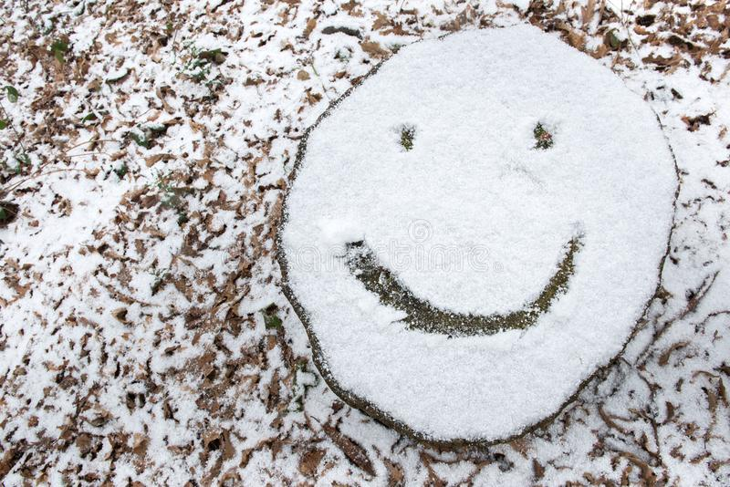 Snow covered tree stump with smiley face emoji. Smiley face emoji drawn on snow covered tree stump royalty free stock image
