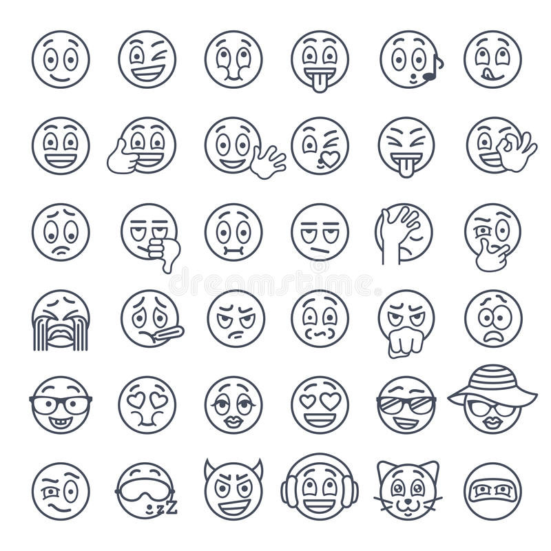 Smiley face emoji thin lines flat vector icons set. Smiley face thin lines flat vector icons set. Emoji emoticons. Different facial emotions and expression stock illustration