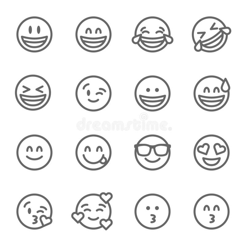 Smiley Face Emoji Vector Line Icon Set. Contains such Icons as Grinning Face, Smiling Face , Savoring and more. Expanded Stroke. Smiley Face Emoji Vector Line stock illustration
