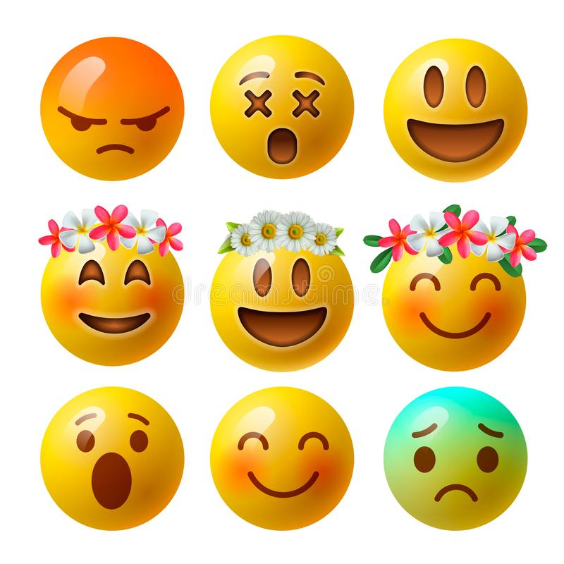 Smiley face emoji or yellow emoticons in glossy 3D realistic isolated in white background, vector. stock illustration