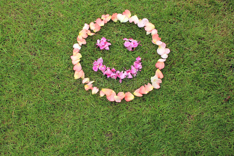 Smiley face emoticon from petals of rose on background of grass. Rose petals are pink and purple. Copy space is bottom royalty free stock photography