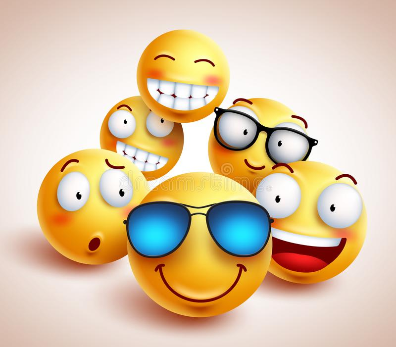 Smiley face emoticons vector characters with funny group. Of cool friends of yellow smileys in different facial expressions. Vector illustration stock illustration