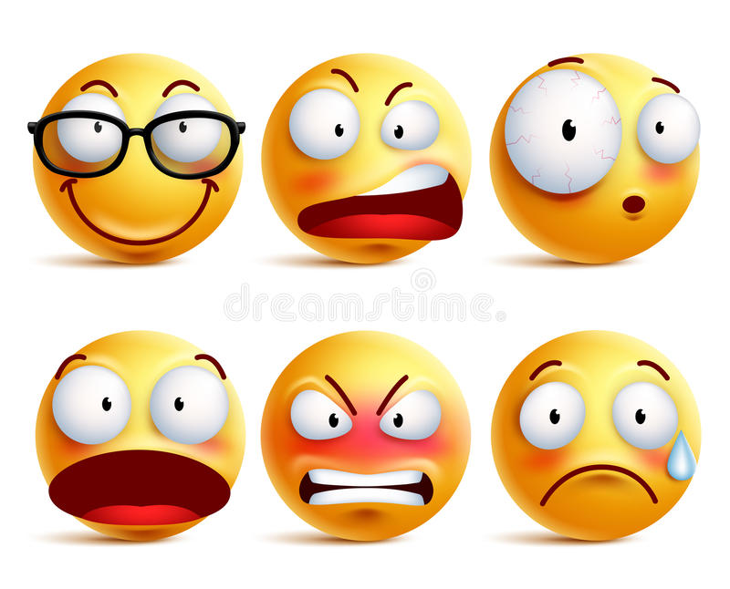 Smiley face or emoticons vector set in yellow with facial expressions. And emotions like happy, angry and sad isolated in white background. Vector illustration stock illustration
