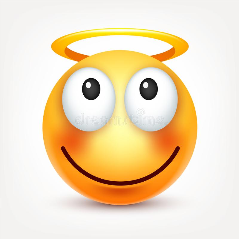 Smiley,face with emotions.Realistic emoji. Sad or happy,angry emoticon mood.Cartoon character.Vector illustration. Smiley,face with emotions.Realistic emoji royalty free illustration