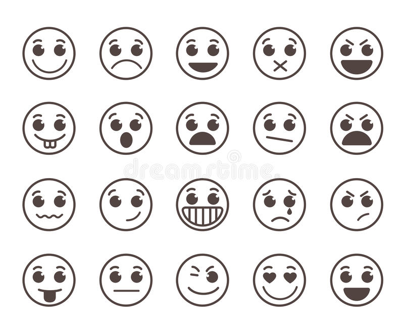 Smiley face flat line vector icons set with funny facial expressions. In black circle isolated in white background. Vector illustration stock illustration