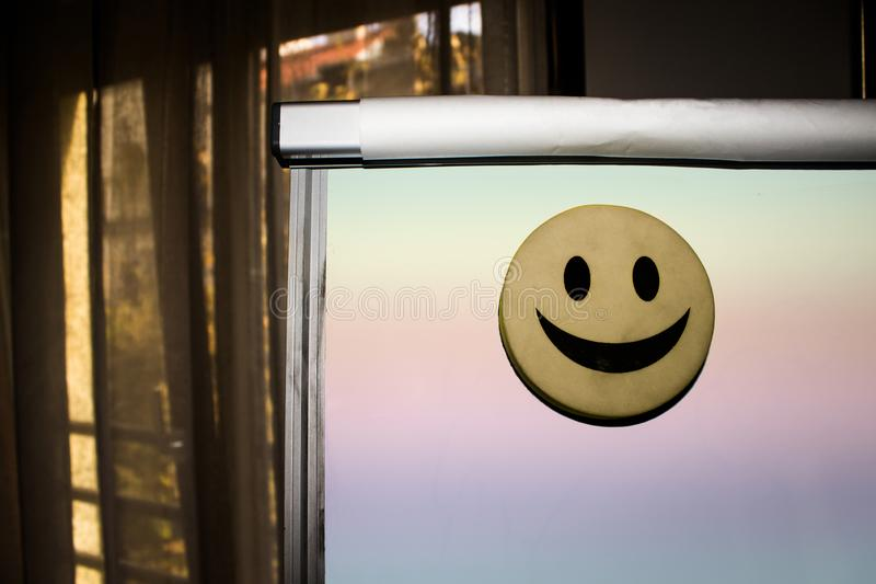 Smiley face on flip chart. royalty free stock photo