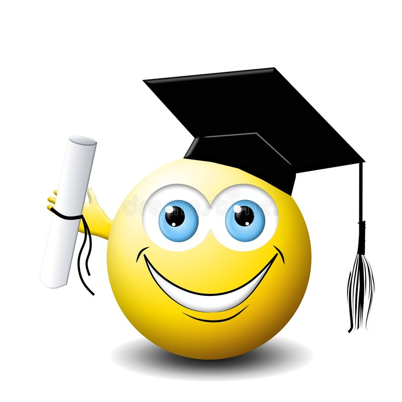 Smiley face Graduate. An illustration featuring a yellow smiley face holding diploma and wearing a graduate hat