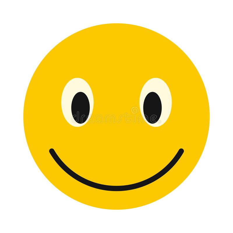 Smiley face icon, flat style. Smiley face icon in flat style isolated on white background. Facial expressions symbol royalty free illustration