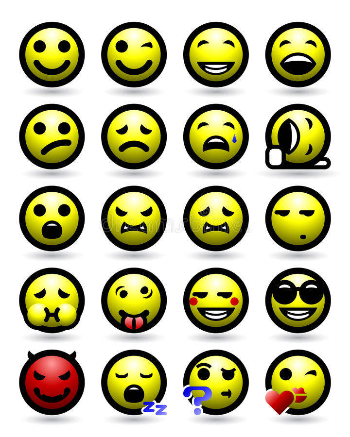 Smiley Face Icon Set stock illustrationer