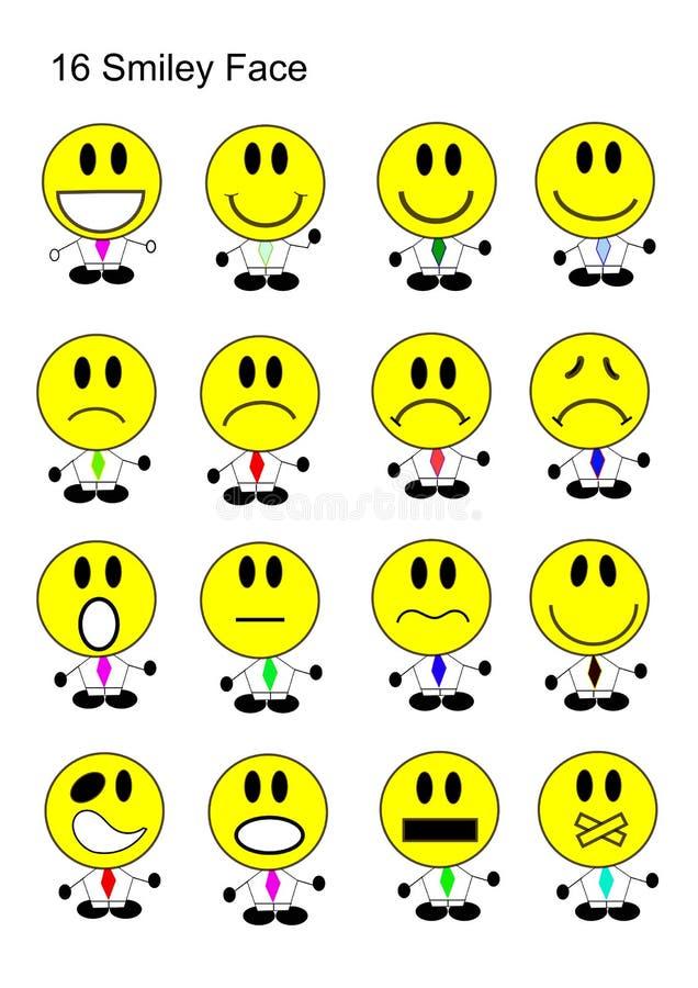 Download 16 Smiley Face Icon Set stock afbeelding. Afbeelding bestaande uit pictogram - 39107147
