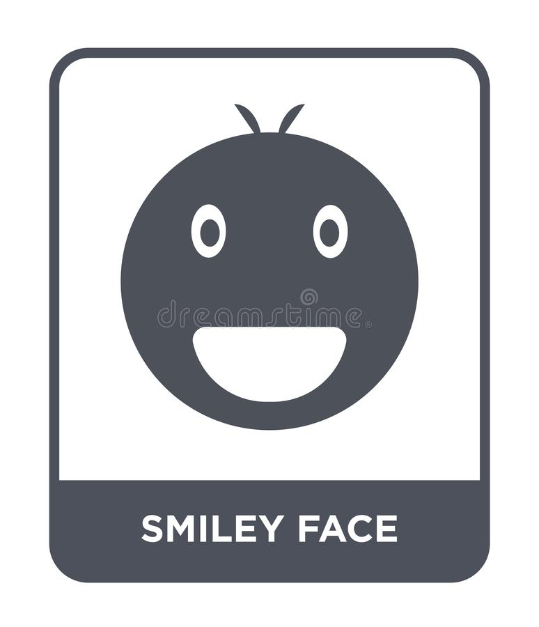 Smiley face icon in trendy design style. smiley face icon isolated on white background. smiley face vector icon simple and modern. Flat symbol for web site stock illustration
