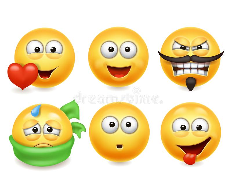 Smiley face icons. Funny faces 3d set, Cute yellow facial expressions collection 3. royalty free illustration