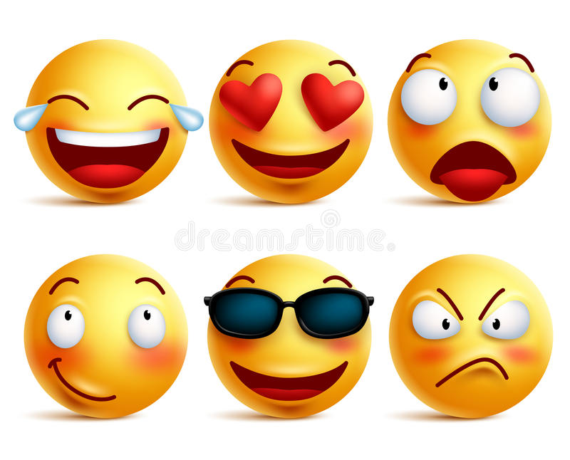 Download Smiley Face Icons Or Yellow Emoticons With Emotional Funny Faces Stock Vector - Illustration of color, angry: 71595195