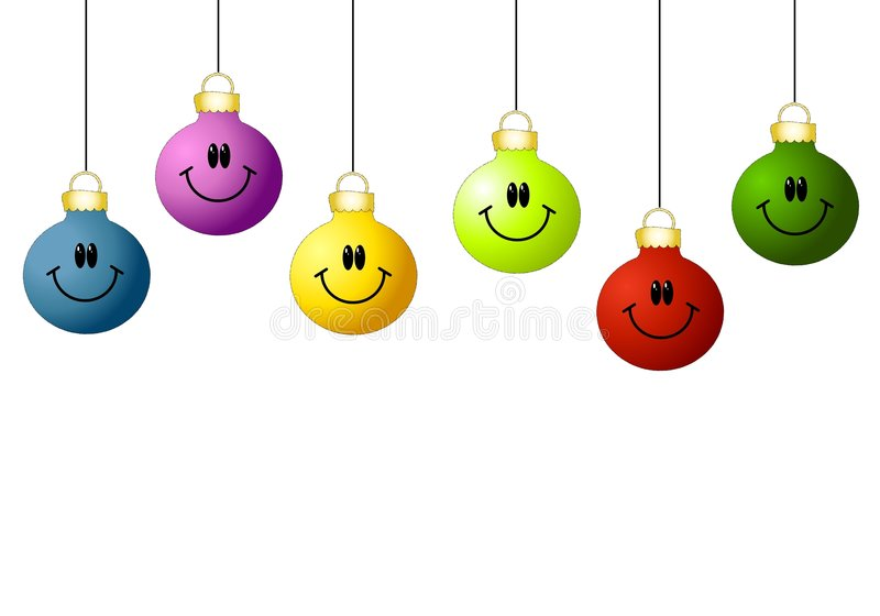 Smiley Face Ornaments. A background illustration featuring a row of simple ornaments with smiley faces hanging stock illustration