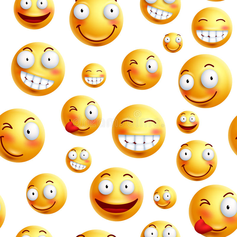 Smiley face pattern vector background. Continuous, endless or seamless smileys pattern. With funny facial expressions in white background. Vector illustration royalty free illustration