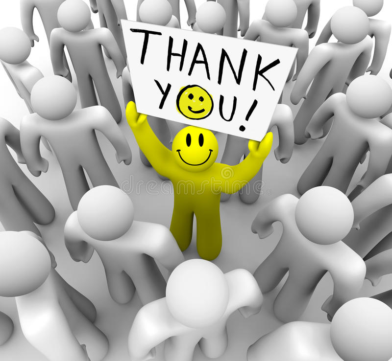 Free Smiley Face Person Holding Thank You Sign Stock Photos - 12260703