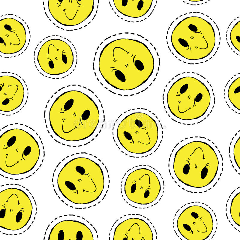Smiley face retro patch icon seamless pattern vector illustration