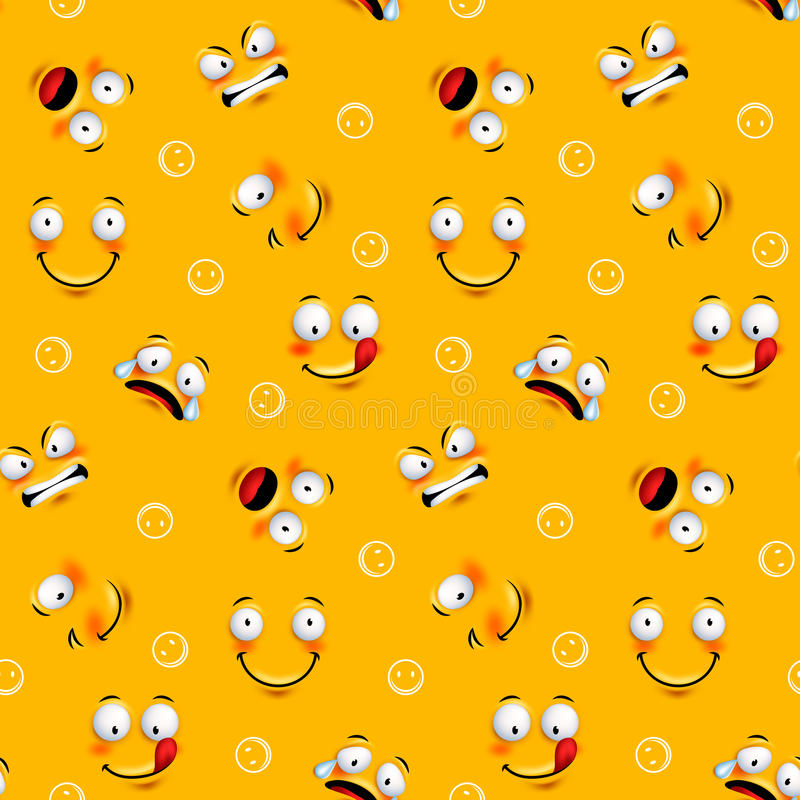 Smiley face seamless pattern with funny facial expressions stock illustration
