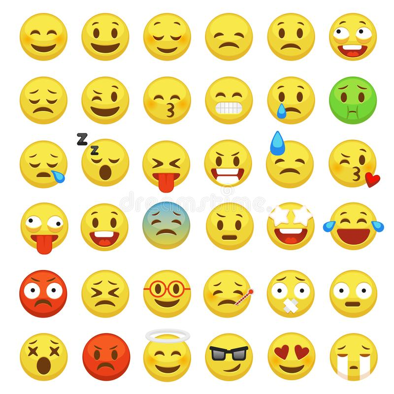 Smiley face set. Character facial yellow sign message people man emotion feelings chat cartoon vector icons royalty free illustration
