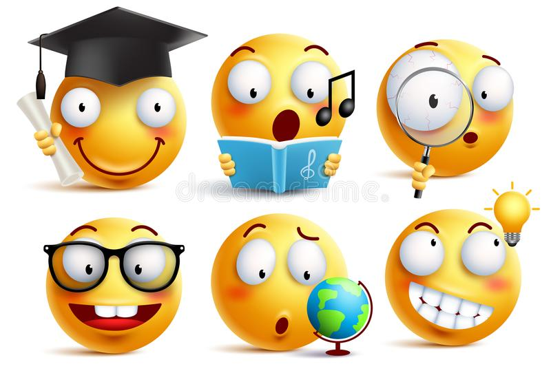 Smiley face student vector emoticons set with facial expressions. And studying school activities isolated in white background. Back to school vector icons stock illustration
