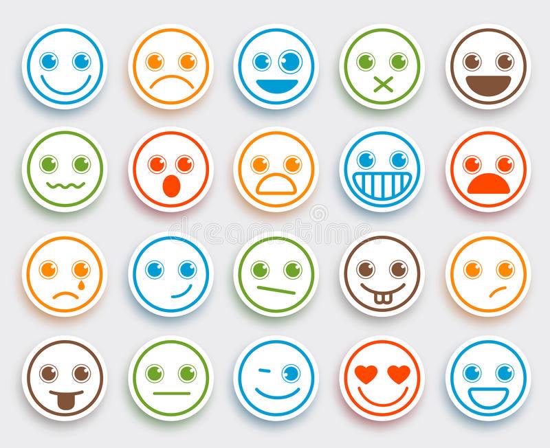 Download smiley face vector emoticon set in white flat icon sticker stock vector illustration of