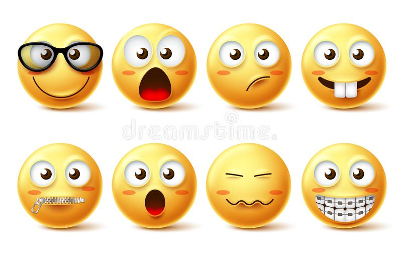 Smiley face vector icon set. Smiley face funny emoticons with eyeglasses, zipped mouth and teeth braces facial expressions. Isolated in white for design royalty free illustration