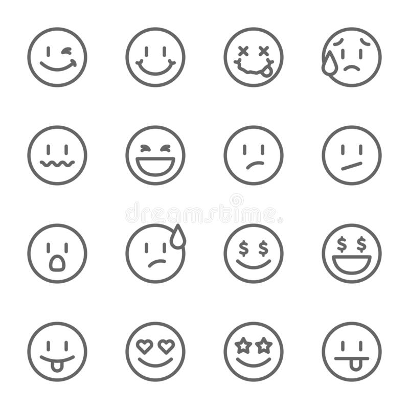 Smiley Face Vector Line Icon Set. Contains such Icons as Happy, Cheeky, Emoji and more. Expanded Stroke royalty free illustration