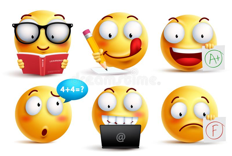 Smiley face vector set for back to school with facial expressions. And student school activities isolated in white background. Yellow emoticons vector royalty free illustration