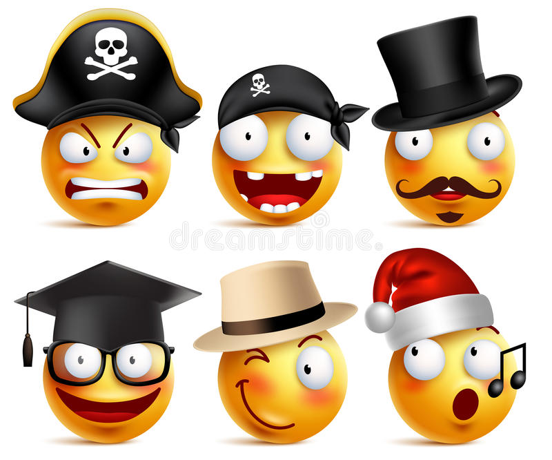 Smiley face vector set of funny toothless pirate, magician, graduate vector illustration