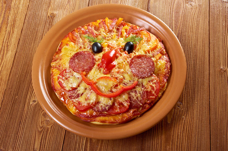 Smiley Faced Pizza royalty-vrije stock afbeelding