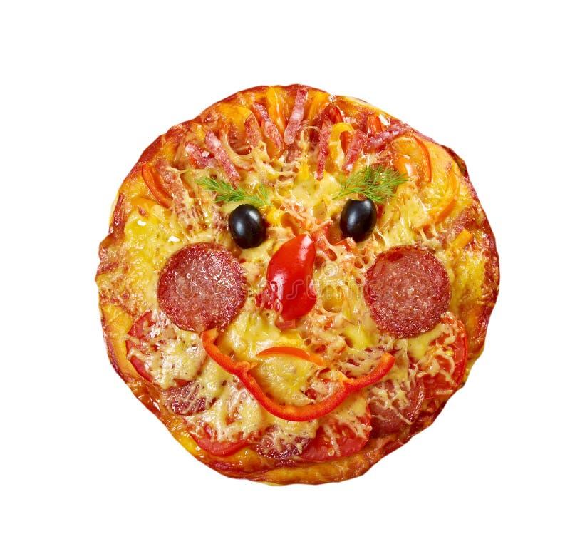 Smiley Faced Pizza imagenes de archivo