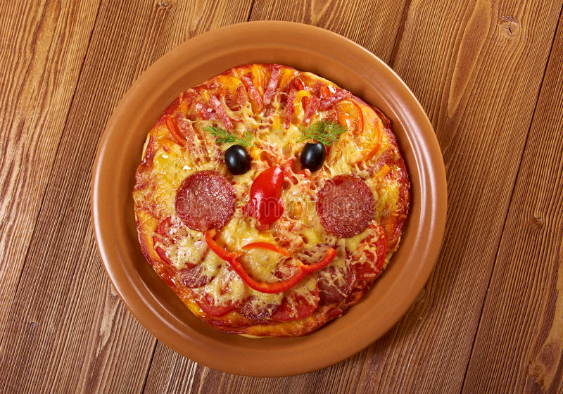 Smiley Faced Pizza stock photo